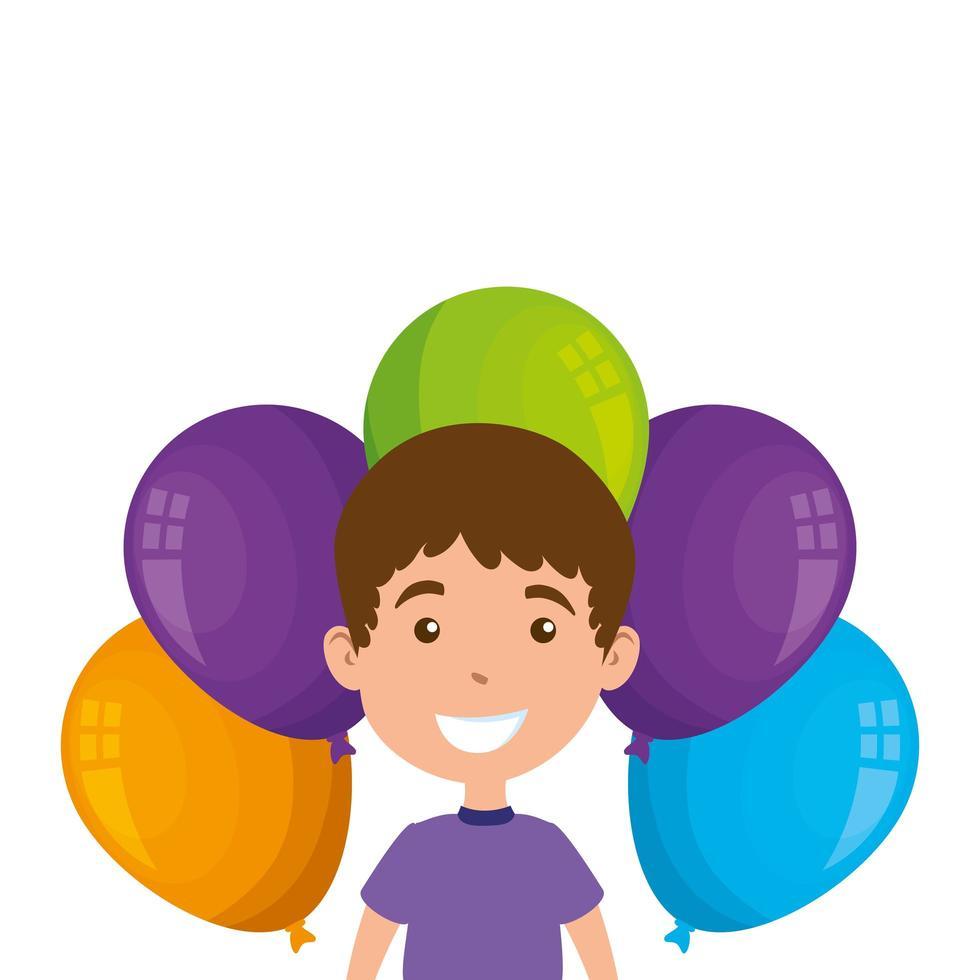 süßer kleiner Junge mit Luftballons Helium vektor