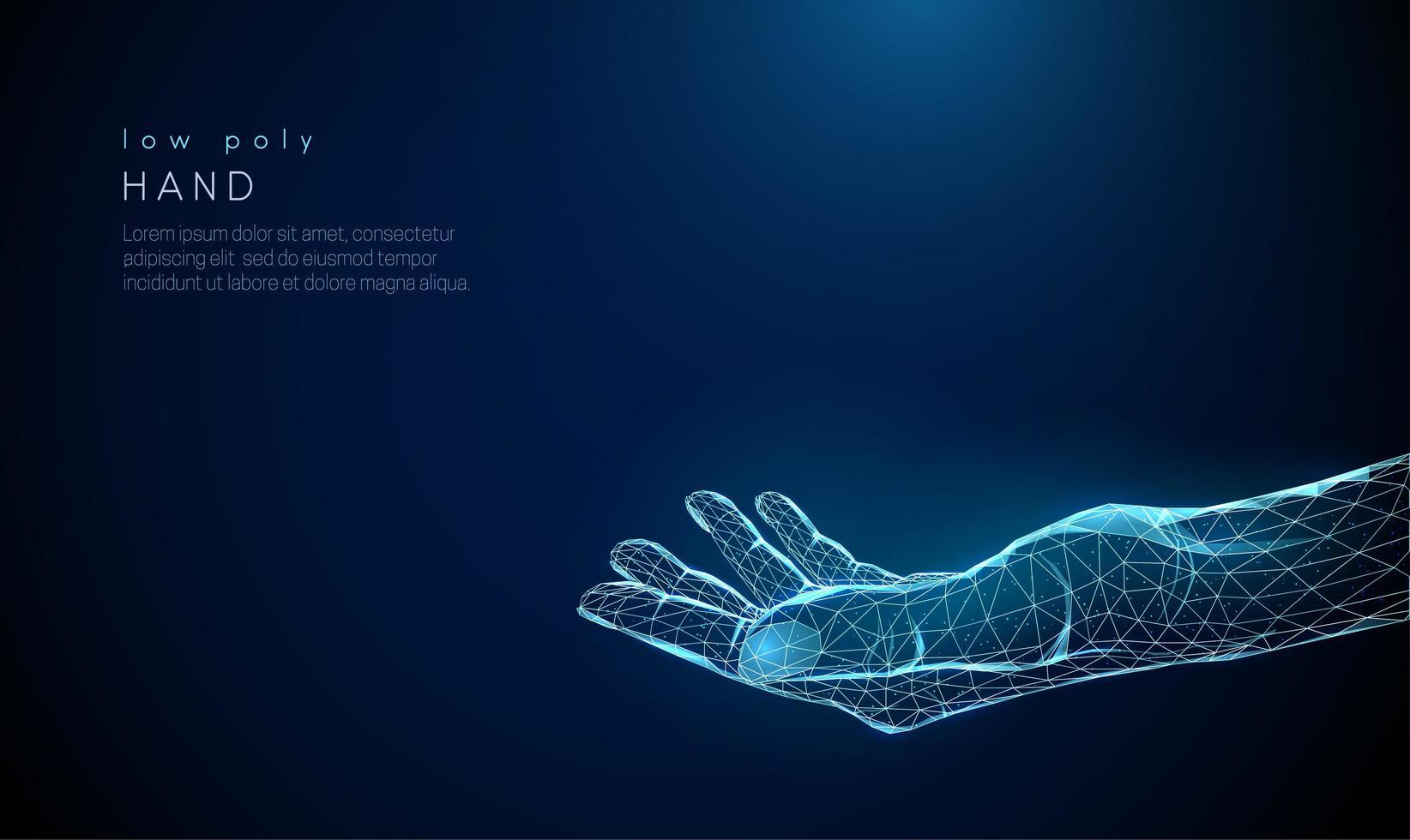 abstrakte Hand geben. Low Poly Style Design. vektor