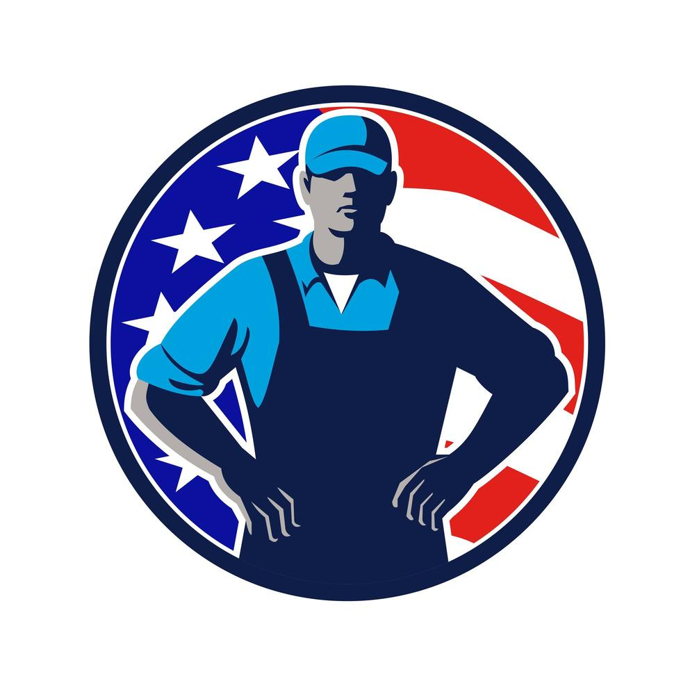 Maskottchen des amerikanischen Bio-Landwirts USA-Flagge vektor