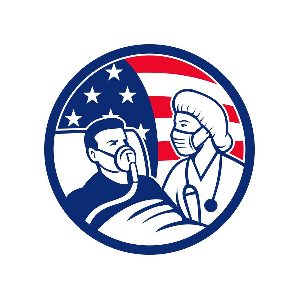 Krankenschwester kümmert sich um Covid-19-Patienten USA Flag Kreis vektor