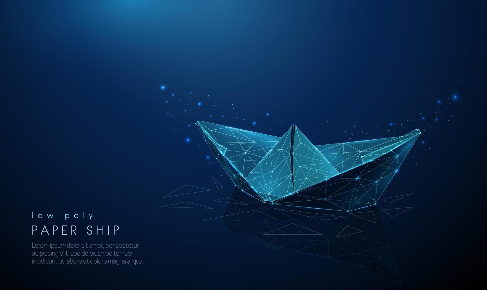 abstraktes Papierschiff. Low Poly Style Design. vektor