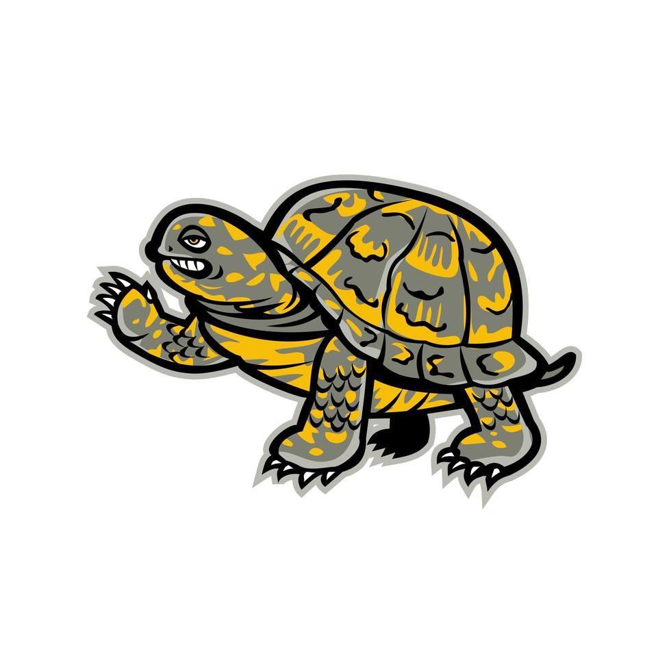 östra box sköldpadda viftande maskot vektor