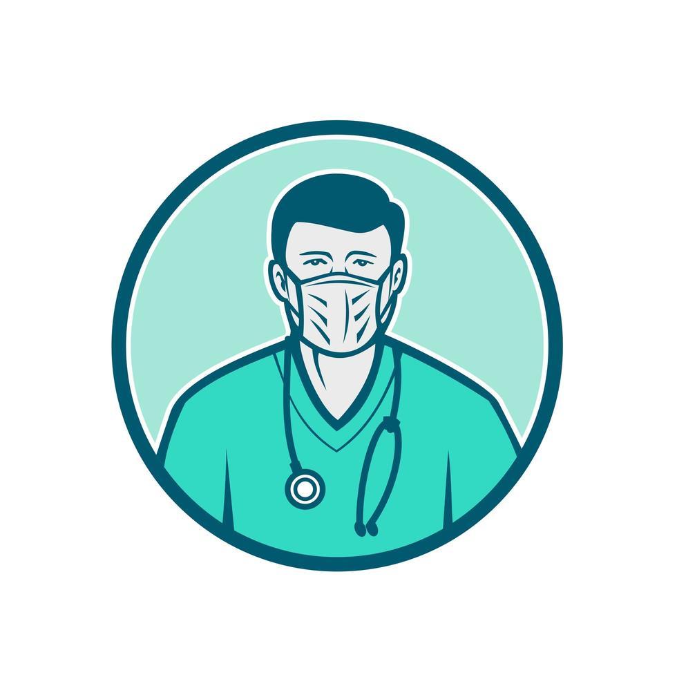 manlig sjuksköterska som bär kirurgisk maskikon vektor