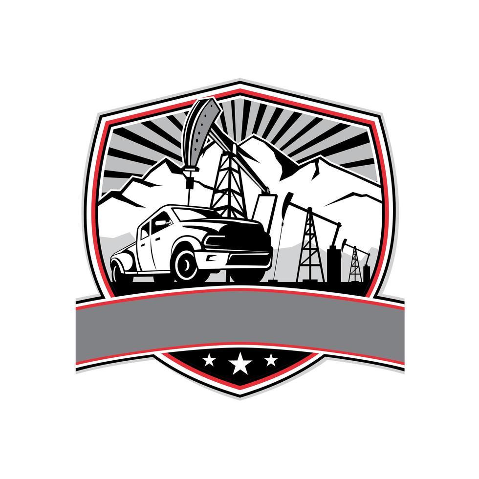 pick-up lastbil och olja derrick sköld märke retro vektor