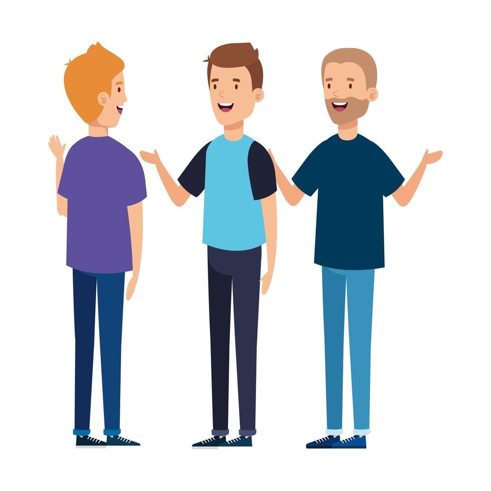 grupp av unga män avatar karaktär ikon vektor