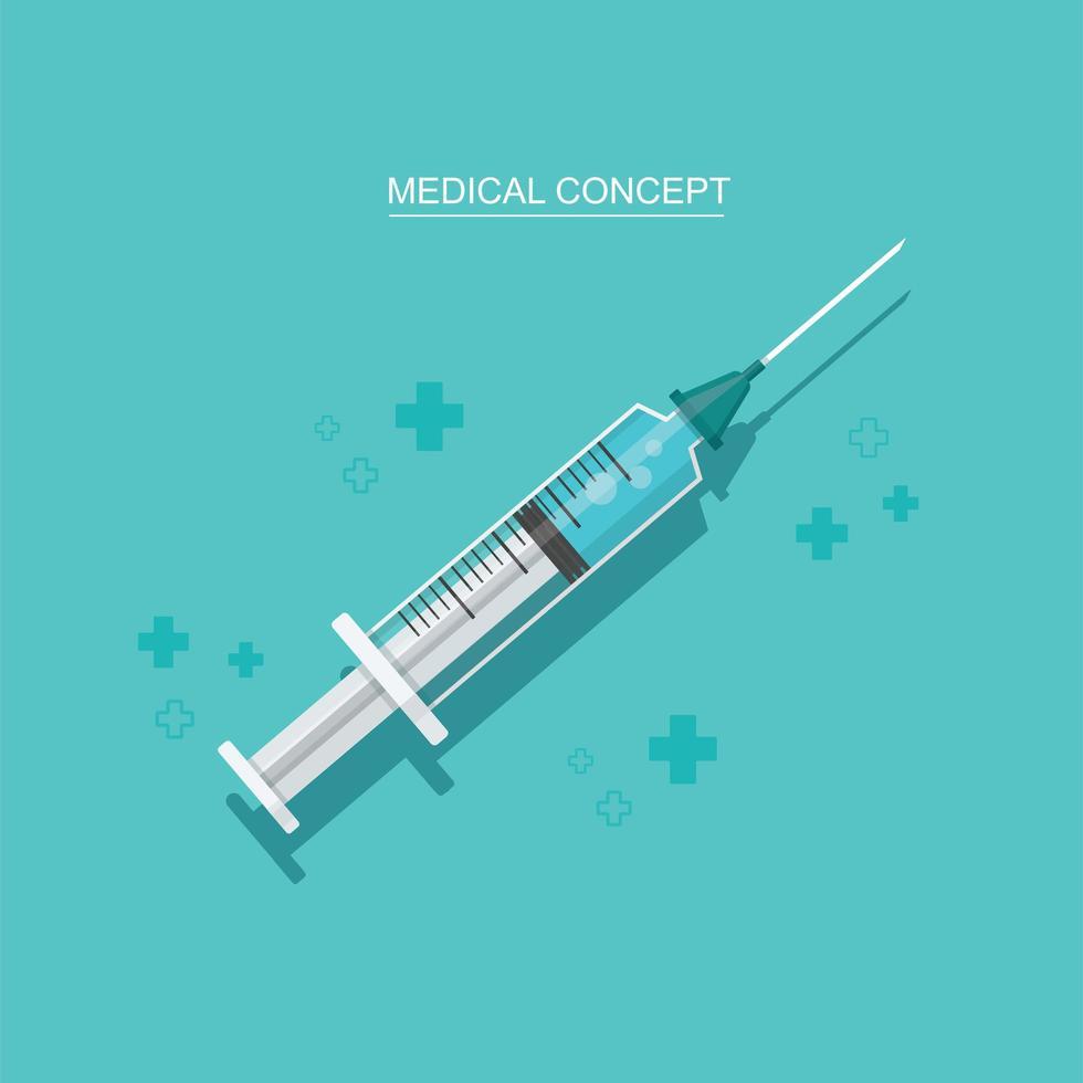 vaccinflaska och spruta. injektion. isolerad vektorillustration vektor