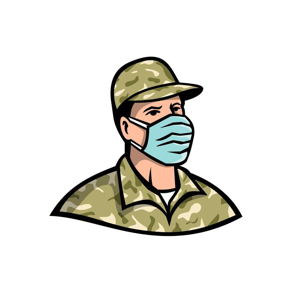 Soldat trägt Maskenmaskottchen vektor
