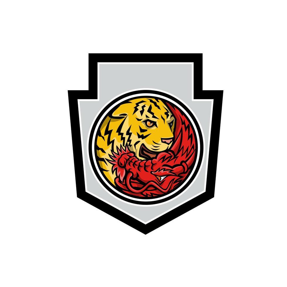 drake och tiger i yin yang symbol vapen maskot vektor