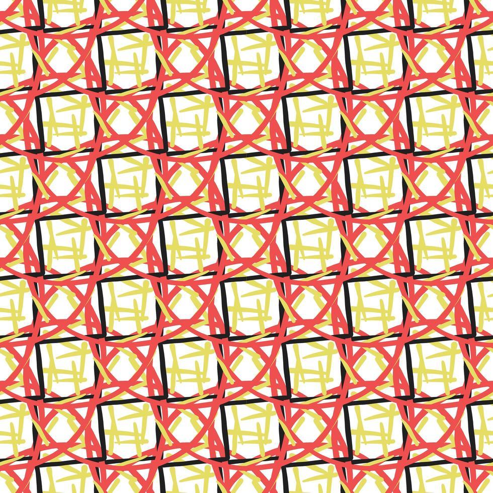 vektor sömlösa mönster, textur bakgrund. handritade, röda, gula, svarta, vita färger.