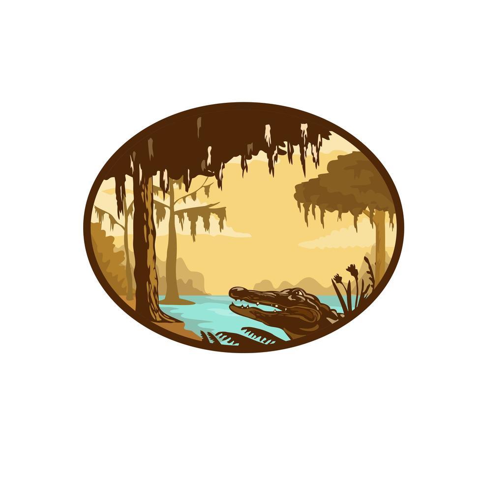 louisiana bayou och alligator oval wpa retro vektor