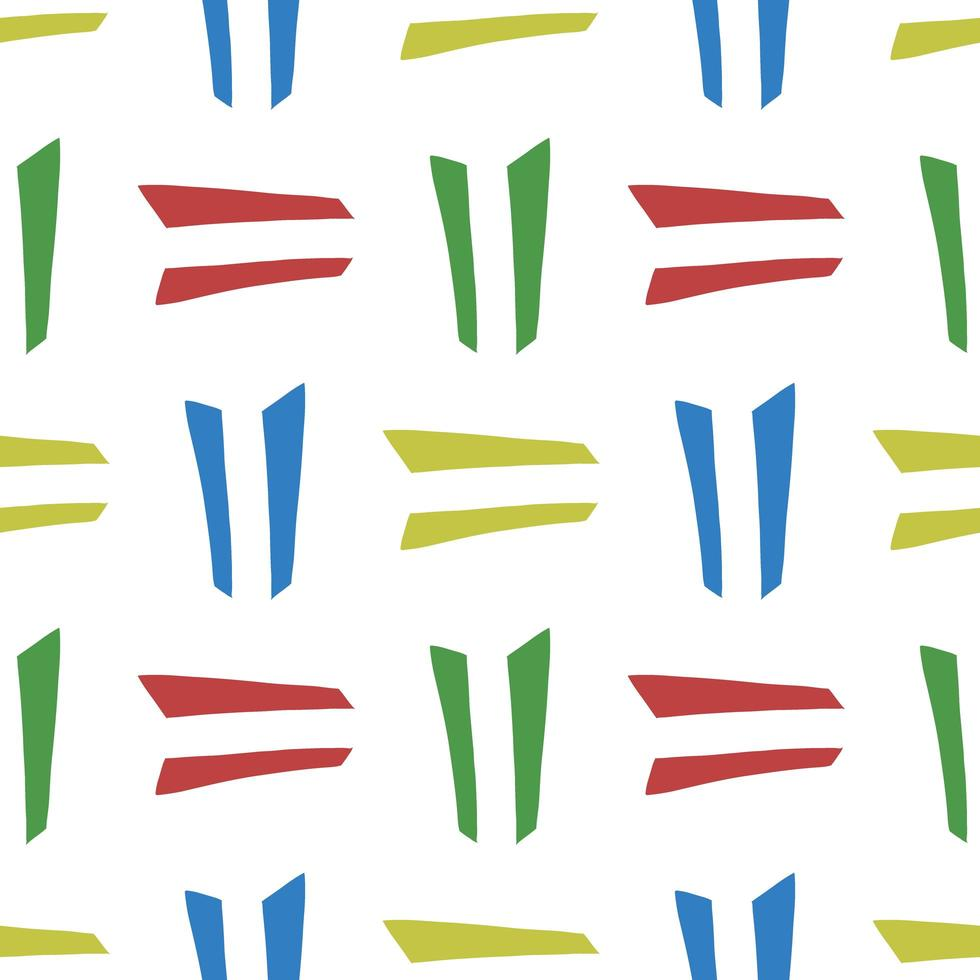 Vektor nahtloses Muster, Textur Hintergrund. handgezeichnete, gelbe, grüne, blaue, rote, weiße Farben.