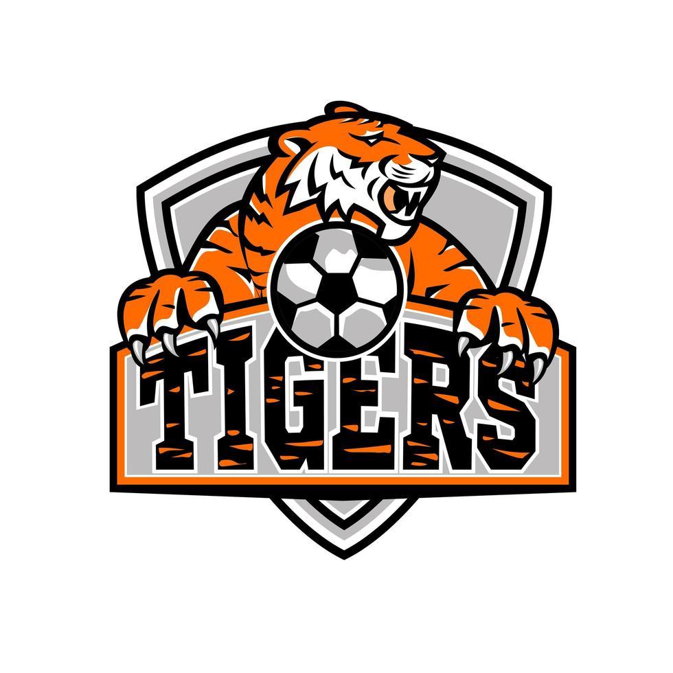tigrar fotboll sköld maskot vektor