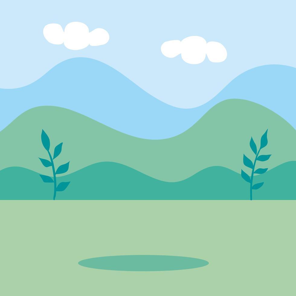 natürliche Landschaftsszene isolierte Ikone vektor