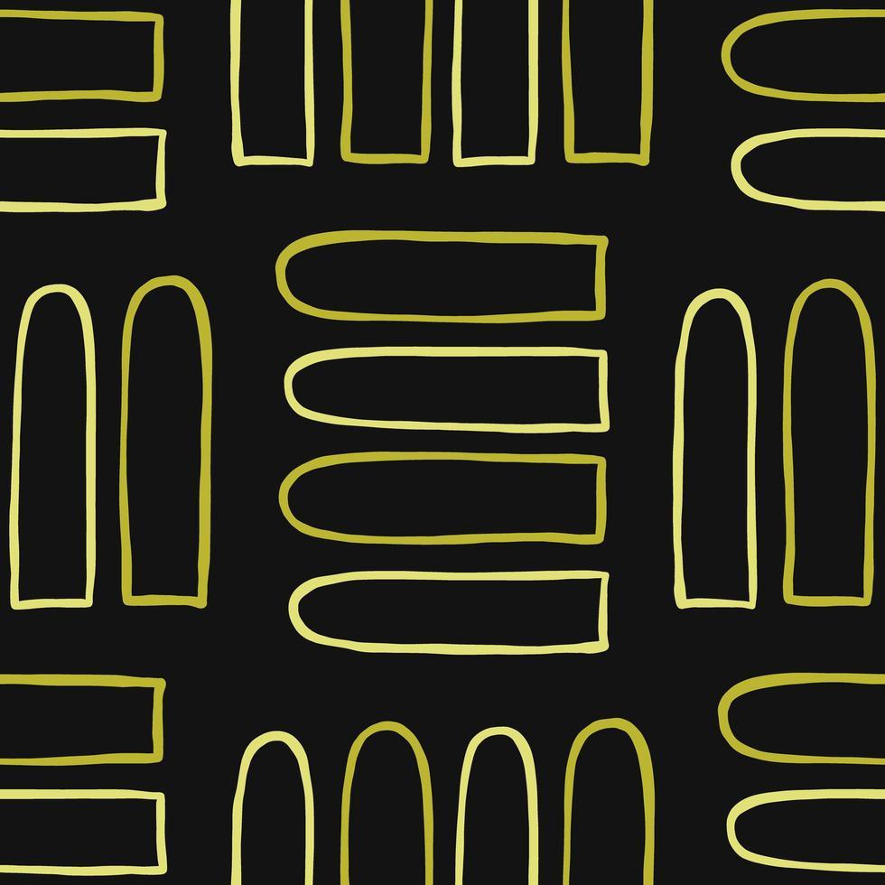vektor sömlös textur bakgrundsmönster. handritade, svarta, gula färger.
