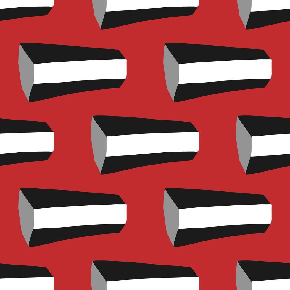 Vektor nahtloses Muster, Textur Hintergrund. handgezeichnete, rote, schwarze, weiße, graue Farben.