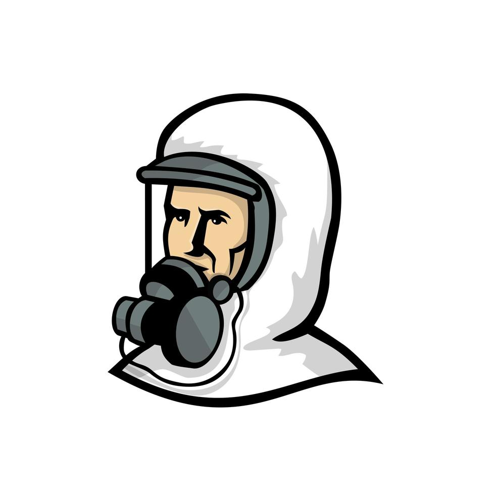 vårdpersonal bär ansiktsmask maskot vektor