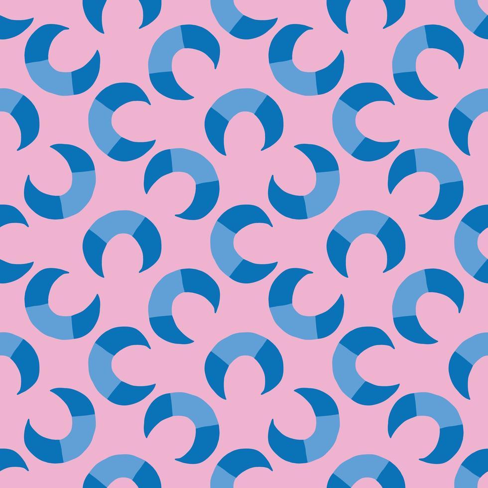 Vektor nahtloses Muster, Textur Hintergrund. handgezeichnete, blaue, rosa Farben.