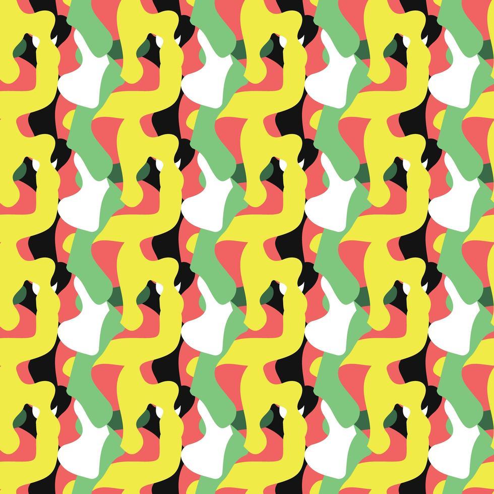 Vektor nahtlose Textur Hintergrundmuster. handgezeichnete, gelbe, grüne, rote, schwarze, weiße Farben.