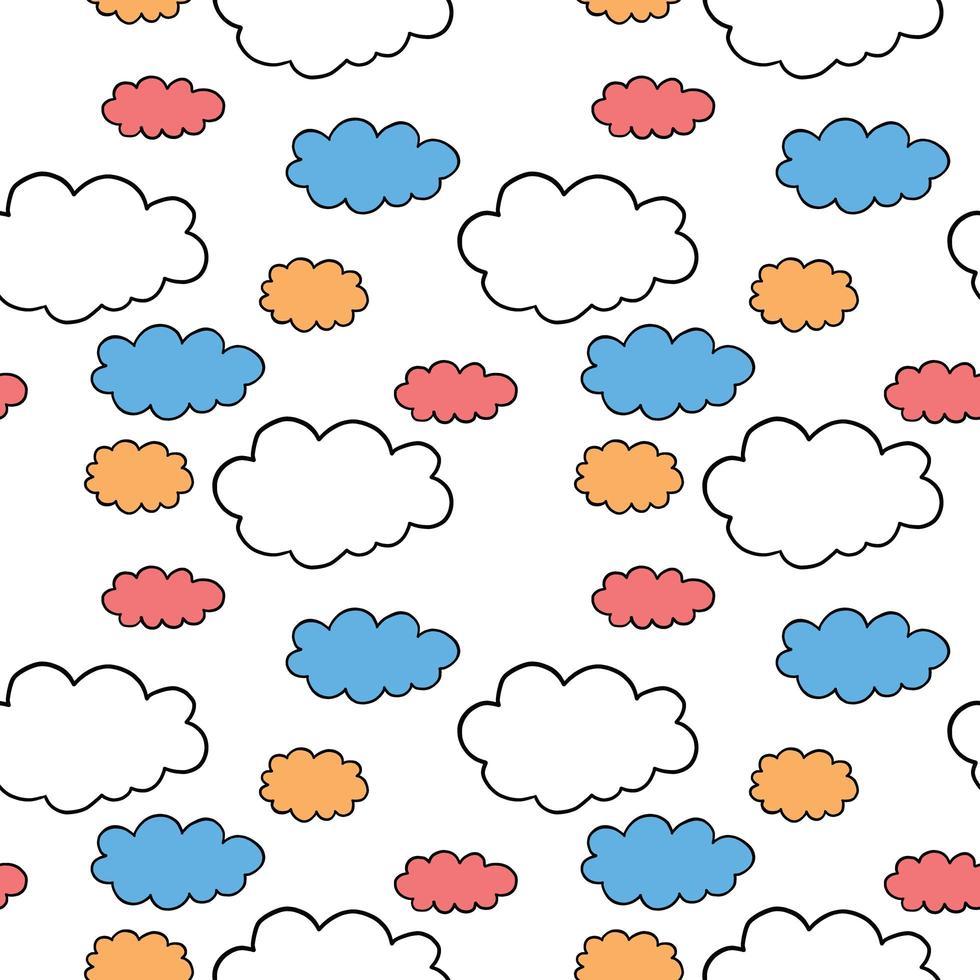 Vektor nahtlose Textur Hintergrundmuster. Hand gezeichnet, orange, blau, rot, weiß, schwarz Farben.