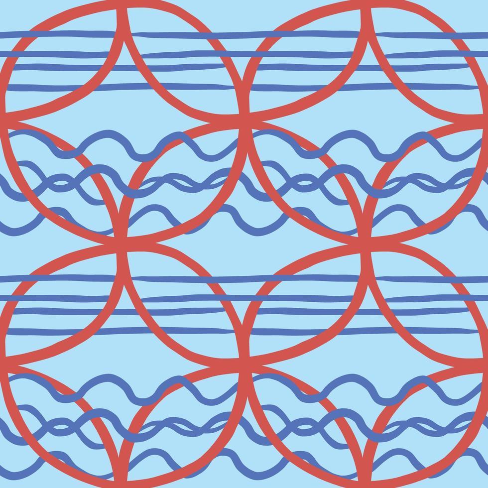 Vektor nahtlose Textur Hintergrundmuster. handgezeichnete, blaue, rote Farben.