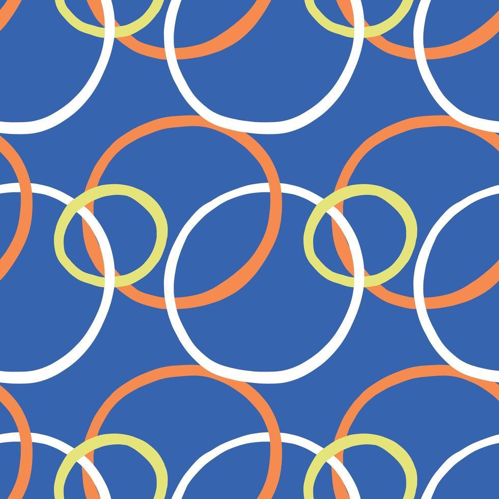 Vektor nahtlose Textur Hintergrundmuster. handgezeichnete, blaue, orange, gelbe, weiße Farben.