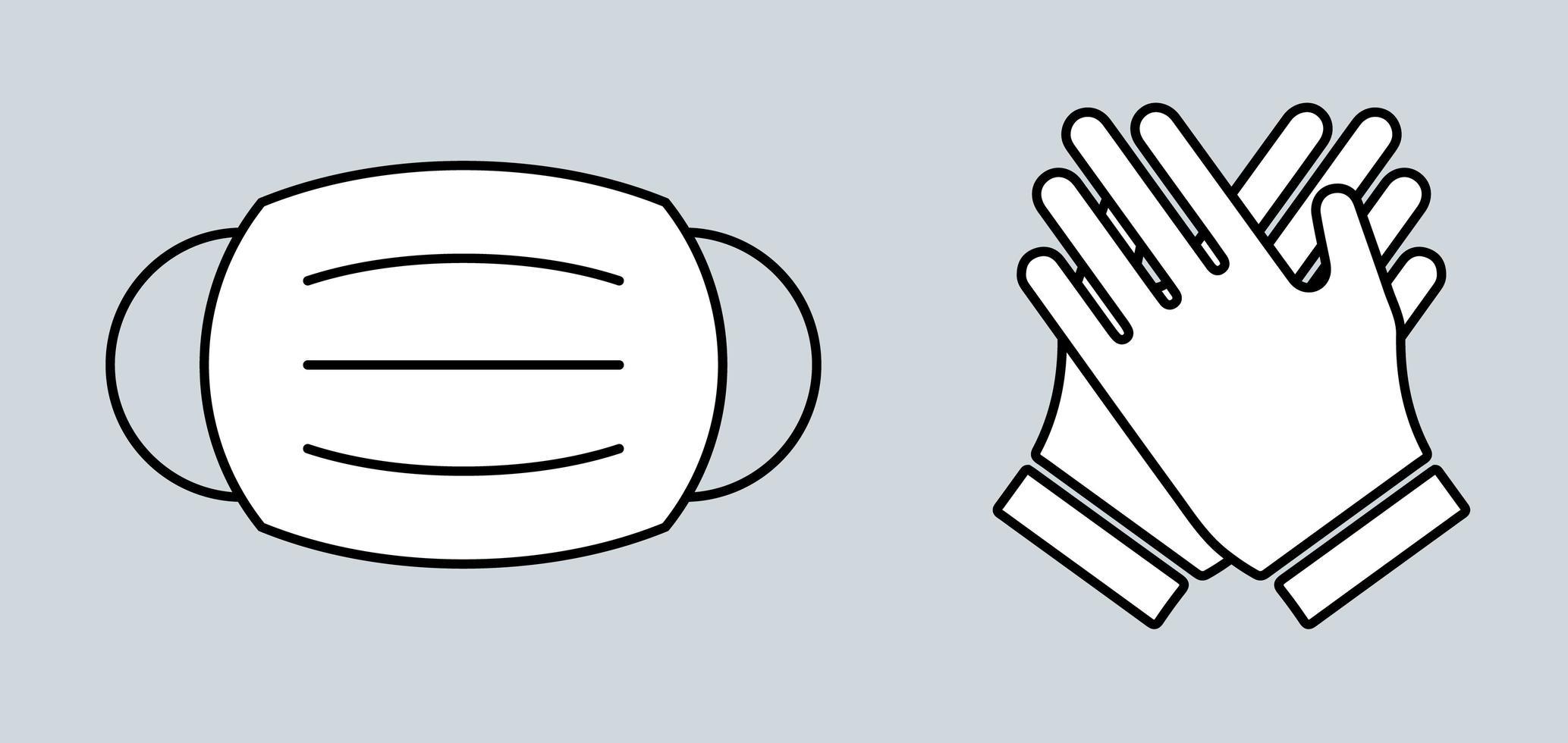 Maske und Handschuhe vektor