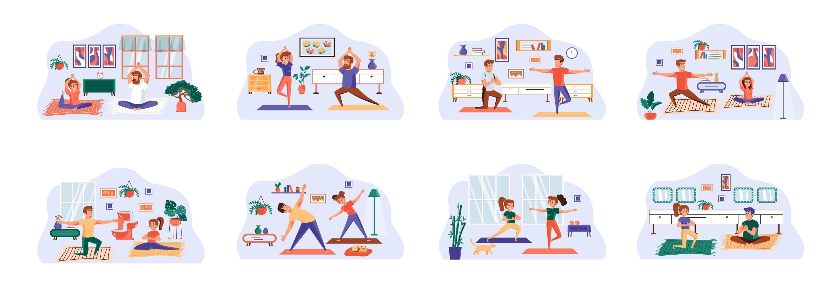 yogabunt med scener med platta karaktärer. vektor