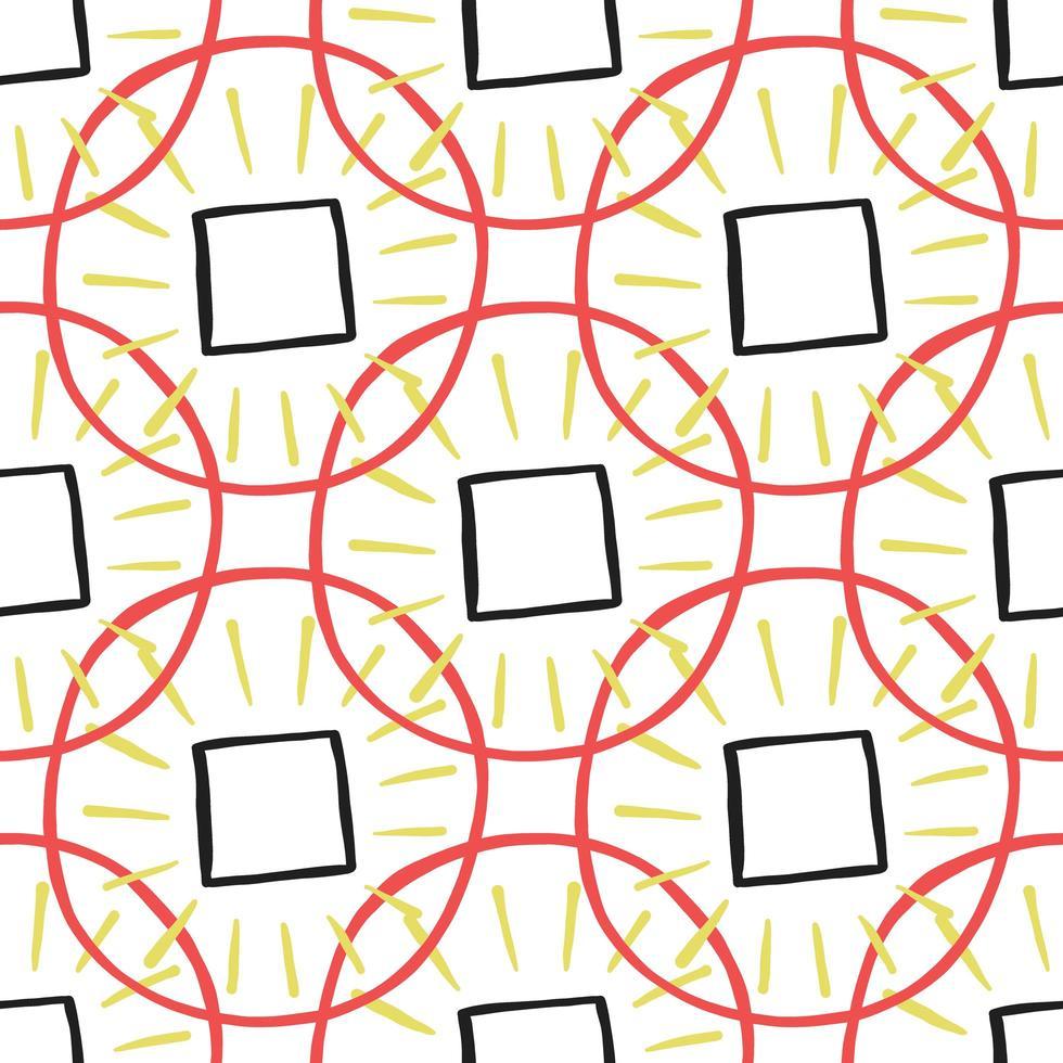 Vektor nahtloses Muster, Textur Hintergrund. Hand gezeichnet, rot, gelb, schwarz, weiß gefärbt.