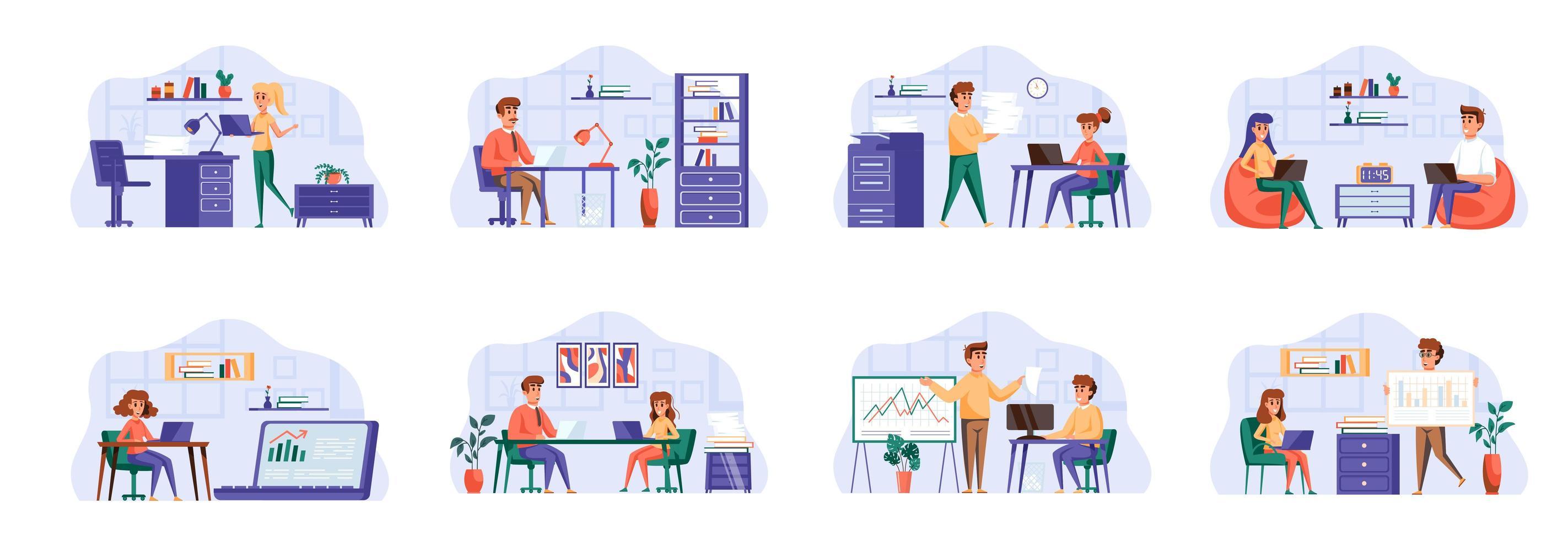 Office-Management-Szenen werden mit Personencharakteren gebündelt. vektor
