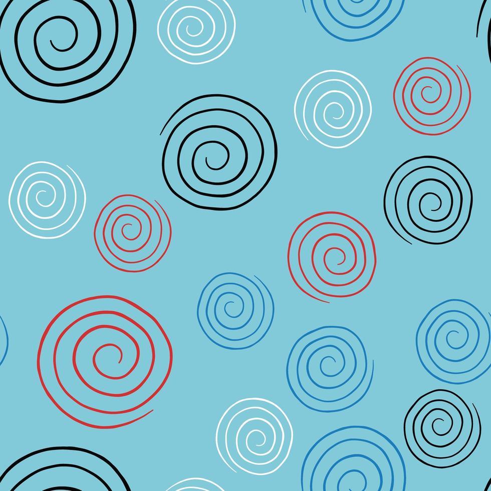 vektor sömlös textur bakgrundsmönster. handritade, blå, röda, svarta, vita färger.