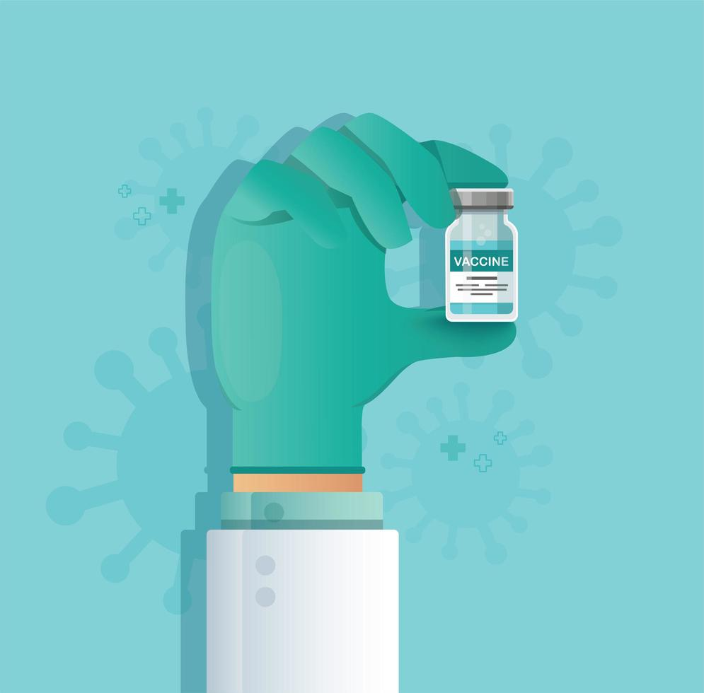 hand som håller vaccinflaskan. vaccinationskoncept. hälsovård och skydd. vektor