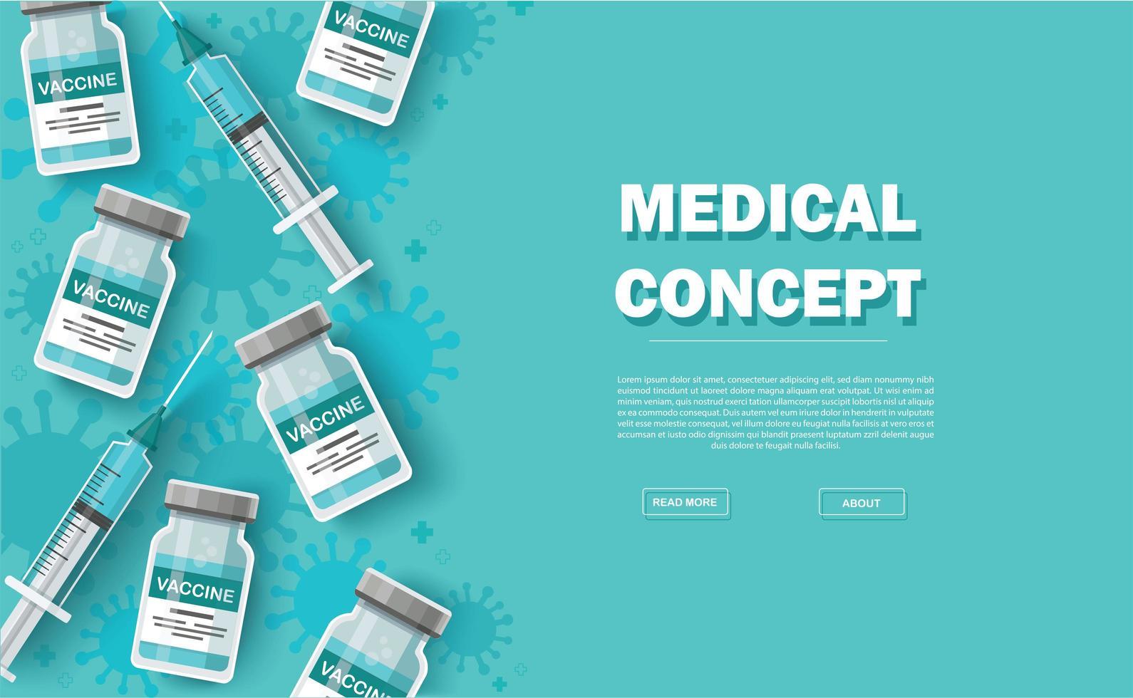 Impfstoff Hintergrund. Impfkonzept. Gesundheitsversorgung und Schutz. Vektorillustration vektor