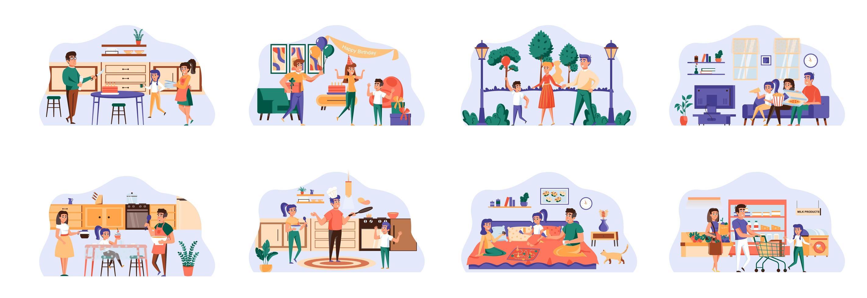 Familienbündel von Szenen mit flachen Personencharakteren. vektor