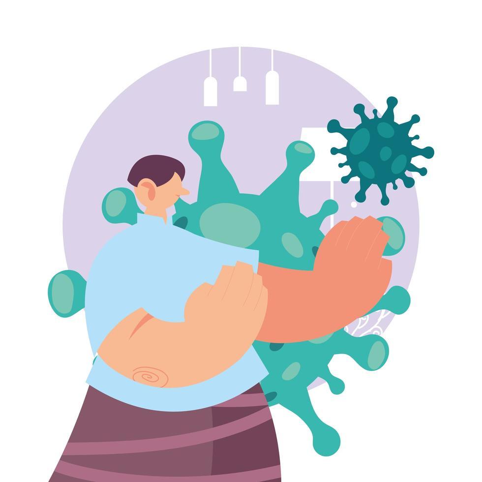 man med symtom på coronavirus sjukdom vektor