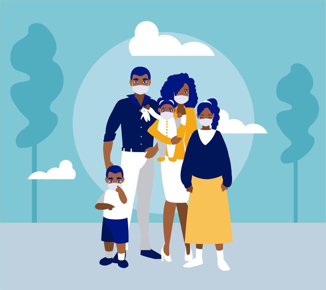 Familie mit Masken am Parkvektordesign vektor