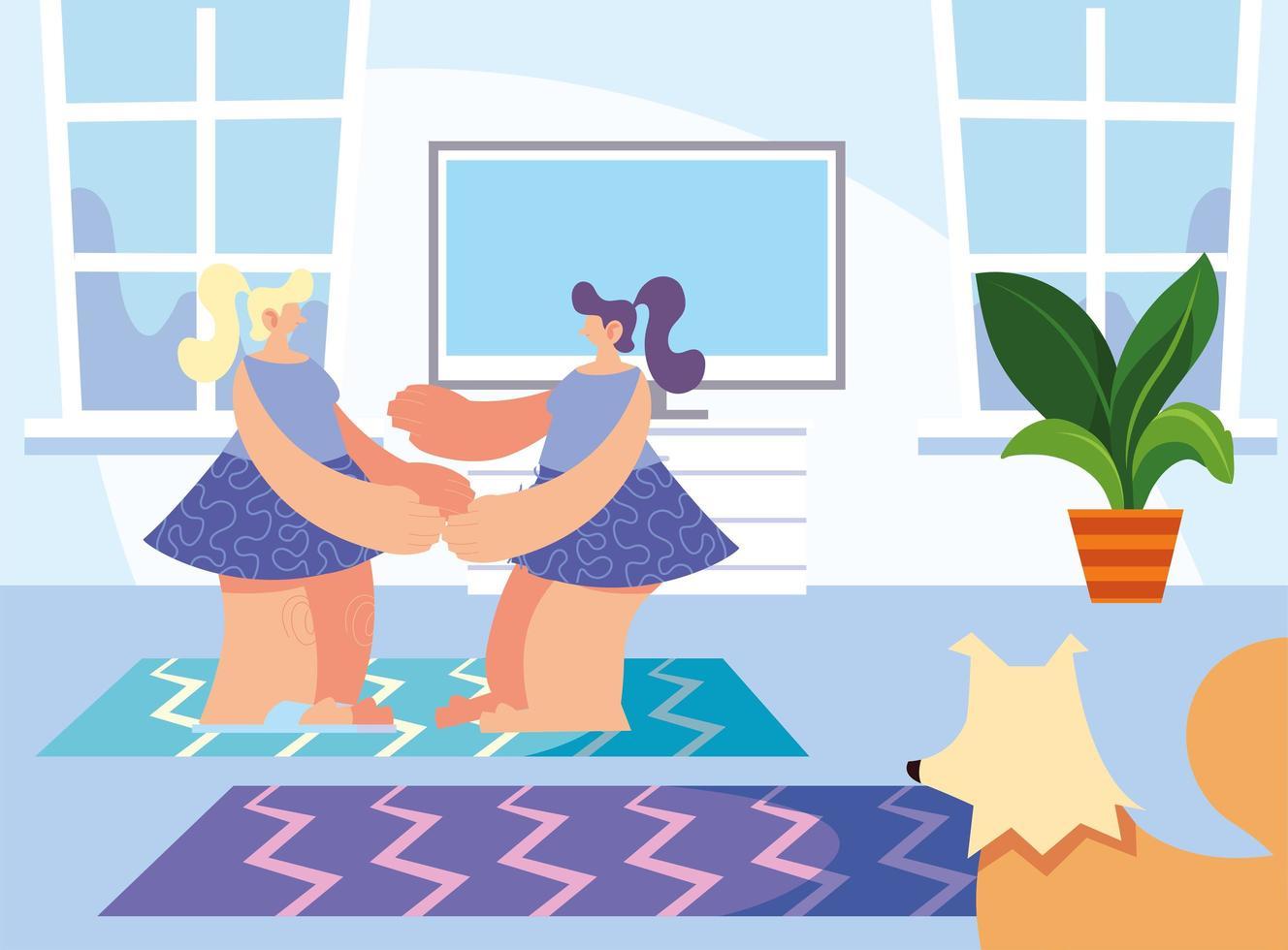 kvinnor och husdjur hemma vektor
