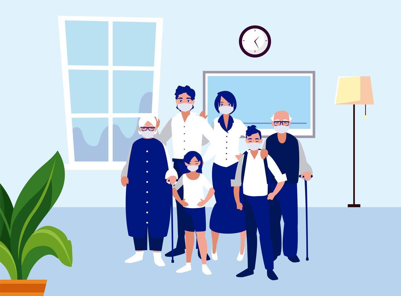 familj med masker hemma vektordesign vektor
