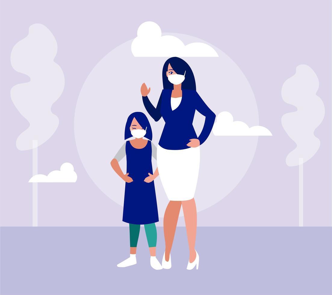 mor och dotter med masker på parkvektordesign vektor