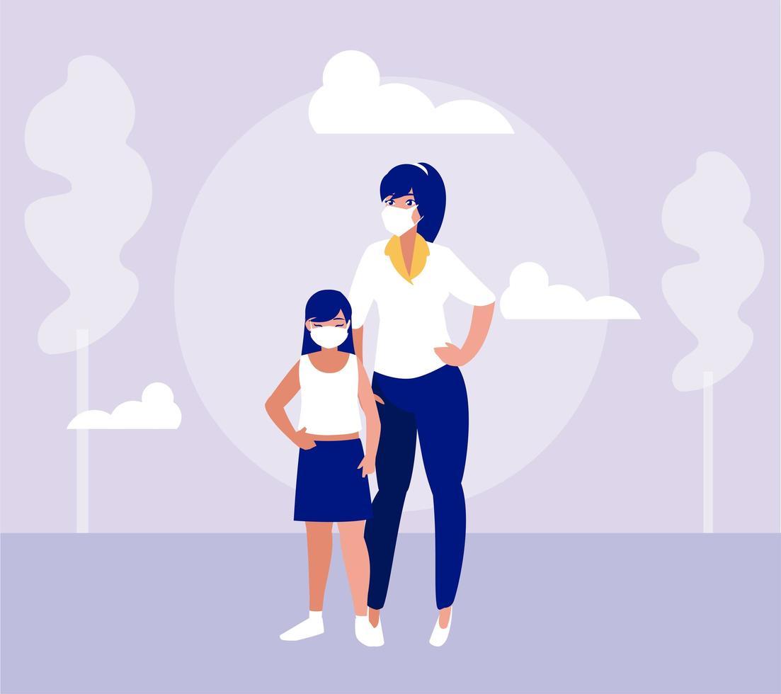 Mutter und Tochter mit Masken am Parkvektordesign vektor