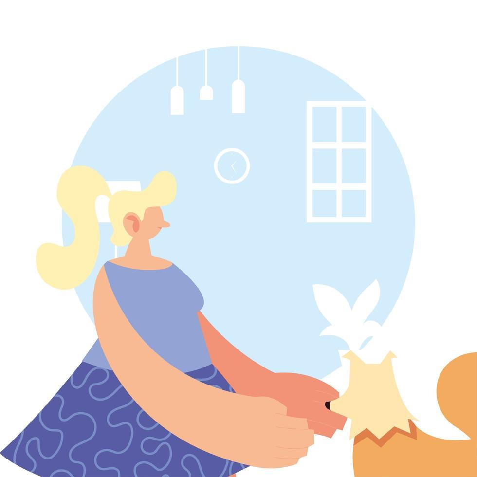 kvinna och husdjur hemma för förebyggande av koronavirus vektor