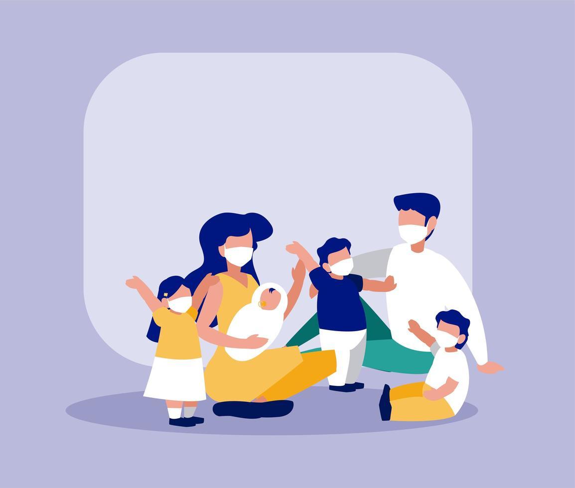 familj med masker framför ramvektordesign vektor