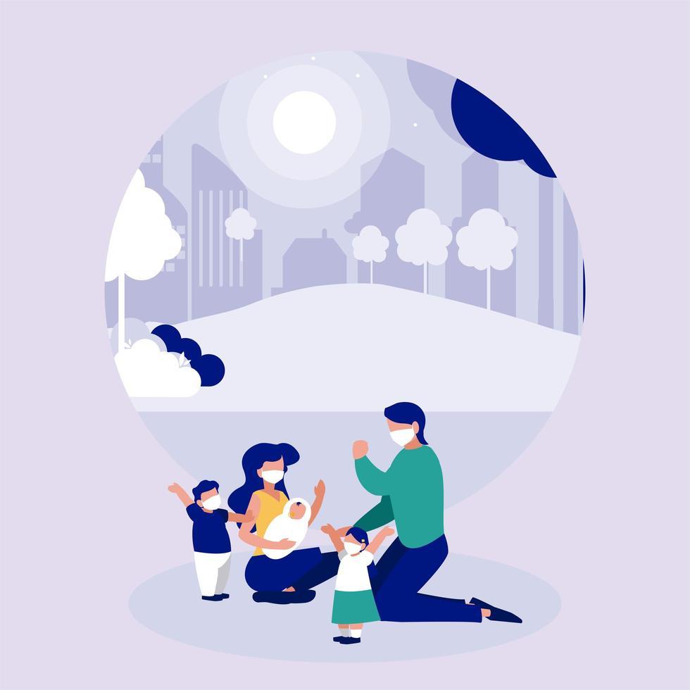 Familie mit Masken am Park vor dem Stadtvektordesign vektor