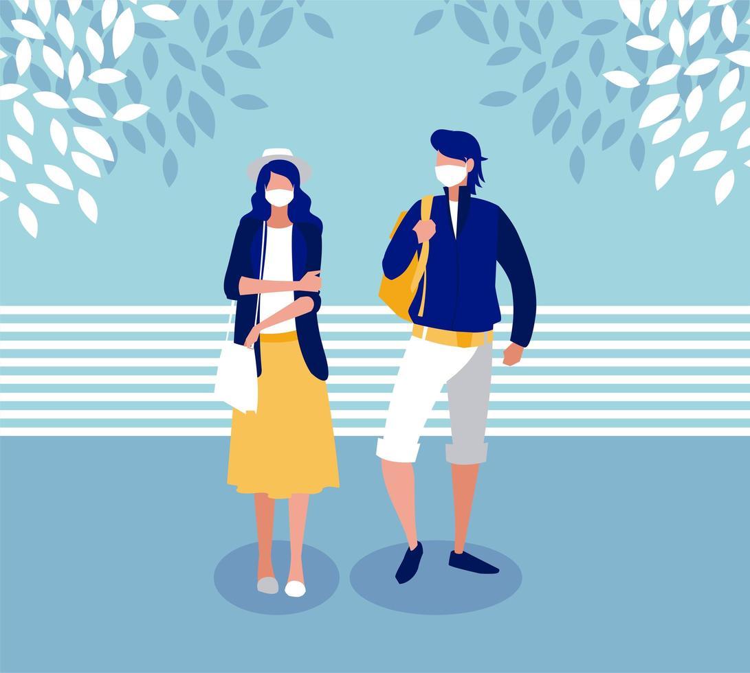 kvinna och man med mask utanför vektordesign vektor