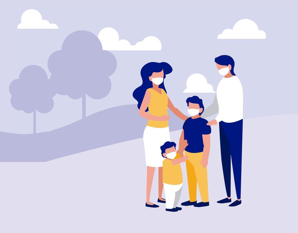familj med masker i parken med trädvektordesign vektor