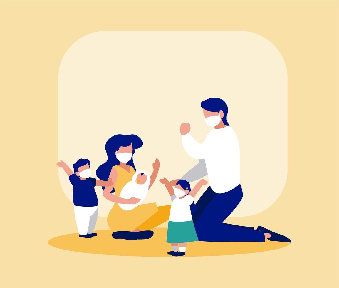 Familie mit Masken vor Rahmenvektorentwurf vektor