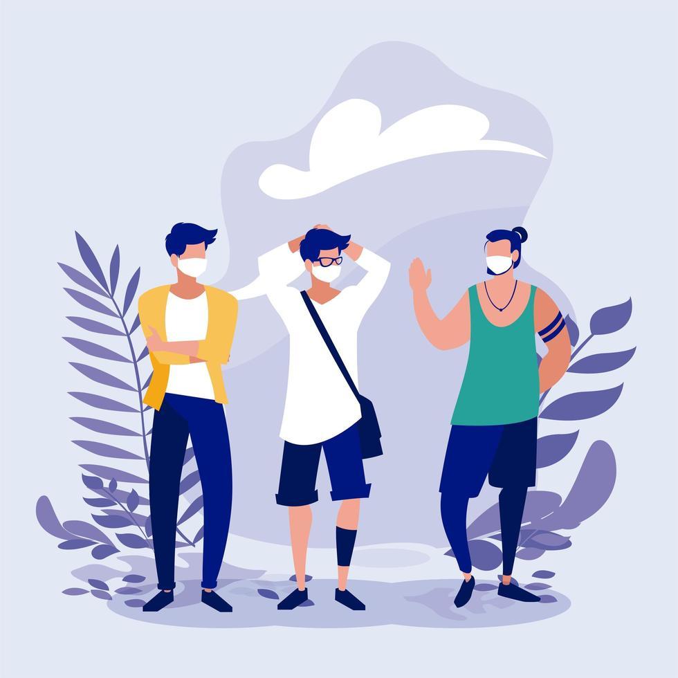 Männer mit Masken und verlässt außerhalb des Vektordesigns vektor