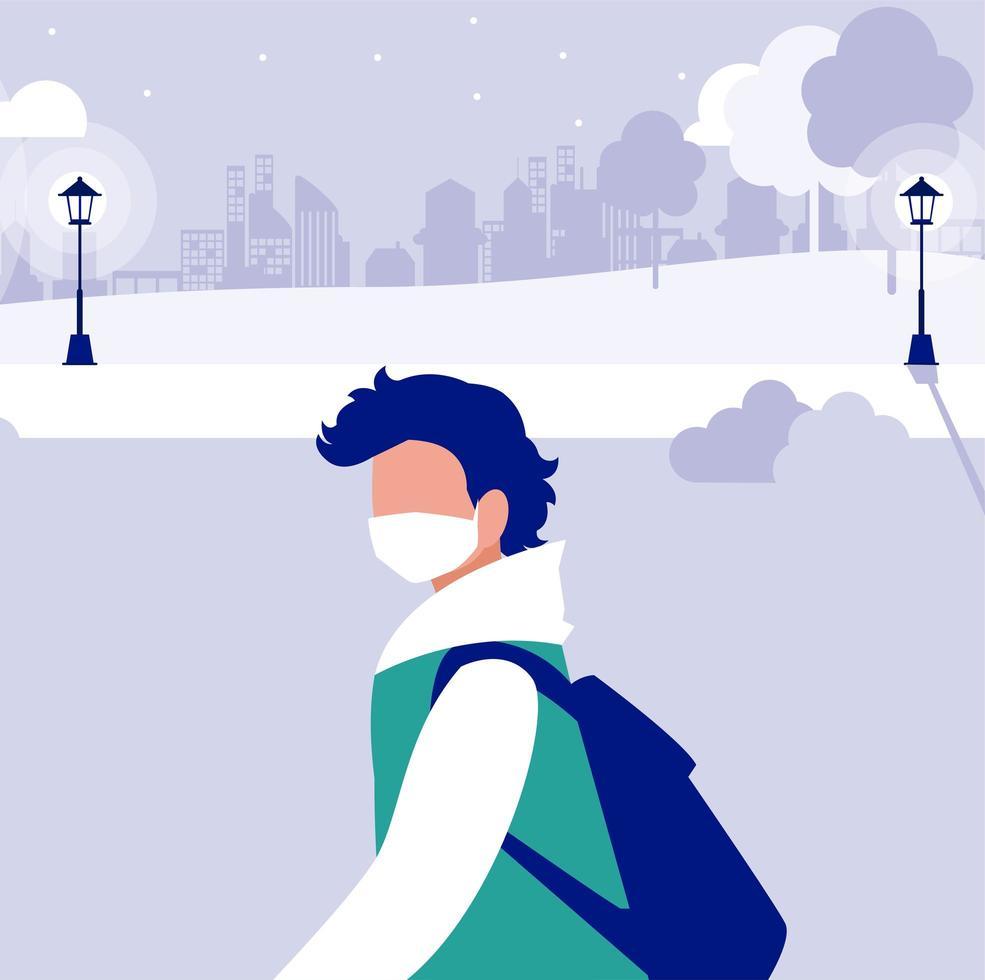 Mann mit Maske draußen am Parkvektordesign vektor