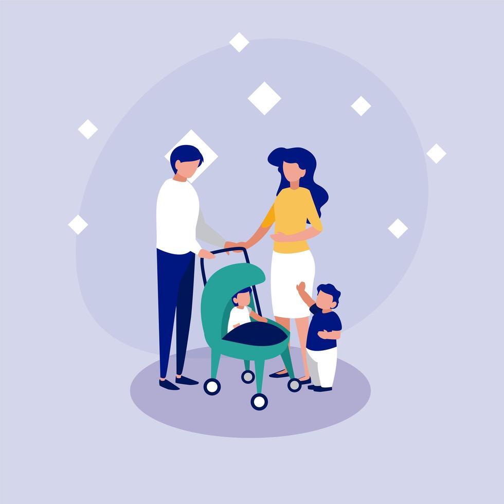 Familie mit Masken vor Kreisvektorentwurf vektor