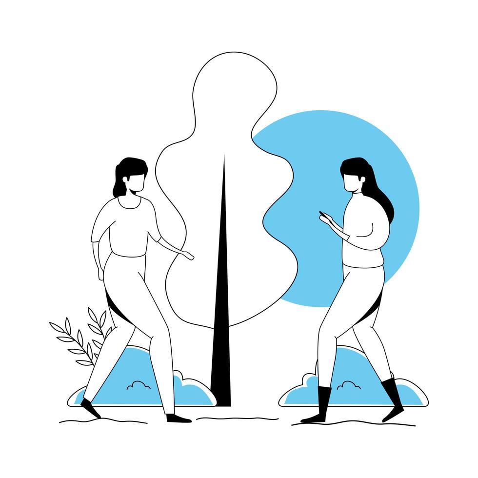 grupp av kvinnor avatar karaktär ikoner vektor