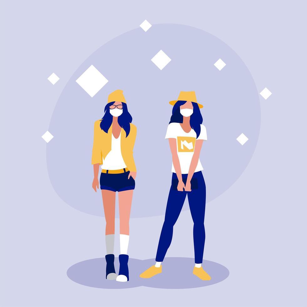Frauen mit Maske zu Hause Vektor-Design vektor